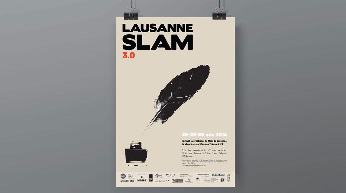Lausanne Slam Festival, affiche réalisée par l'agence Zedcom